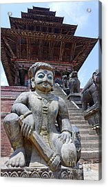 Statue At The Nyatapola Temple At Bhaktapur In Nepal Acrylic Print by Robert Preston