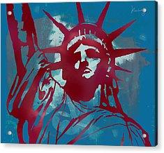 Statue Liberty - Pop Stylised Art Poster Acrylic Print by Kim Wang