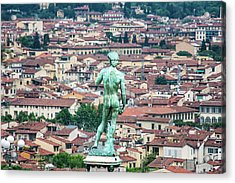 Statue Of David Overlooking Florence Acrylic Print by Sheila Haddad