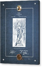 Statue Of Liberty By A. Bartholdi - Vintage Patent Blueprint Acrylic Print