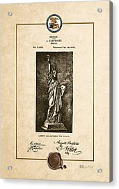 Statue Of Liberty By A. Bartholdi - Vintage Patent Document Acrylic Print