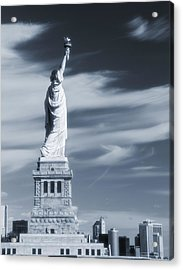 Statue Of Liberty Facing New York City Acrylic Print by Dan Sproul