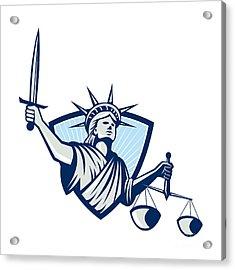 Statue Of Liberty Holding Scales Justice Sword Acrylic Print by Aloysius Patrimonio