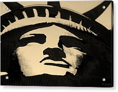 Statue Of Liberty In Dark Sepia Acrylic Print by Rob Hans