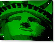 Statue Of Liberty In Green Acrylic Print by Rob Hans