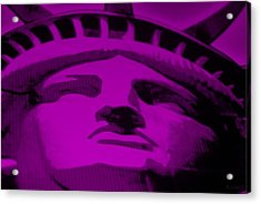 Statue Of Liberty In Purple Acrylic Print by Rob Hans