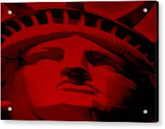 Statue Of Liberty In Red Acrylic Print by Rob Hans