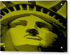 Statue Of Liberty In Yellow Acrylic Print by Rob Hans