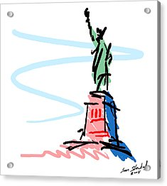 Acrylic Print featuring the digital art Statue Of Liberty by Sam Shacked