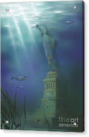 Statue Of Liberty Under Water Acrylic Print