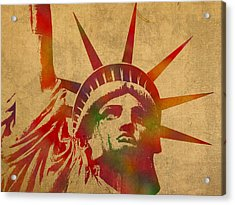 Statue Of Liberty Watercolor Portrait No 2 Acrylic Print by Design Turnpike