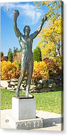 Statue Of Rocky Balboa In A Park Acrylic Print by Panoramic Images