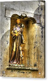Statue Of Saint Francis Of Assisi - Alcove In The Gardens Of The Carmel Mission Acrylic Print