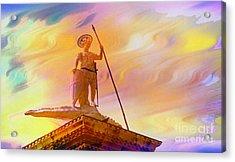 Statue Of St. Theodor Venice Italy - 2 Acrylic Print