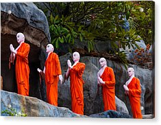Statues Of The Buddhist Monks At Golden Temple Acrylic Print by Jenny Rainbow