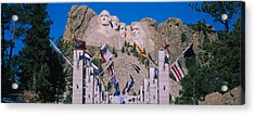 Statues On A Mountain, Mt Rushmore, Mt Acrylic Print by Panoramic Images