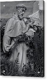 Stature Of Father Junepero Serra  In Black And White Acrylic Print