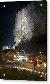 Staubbach Falls At Night In Lauterbrunnen Switzerland Acrylic Print
