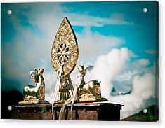 Stautes Of Deer And Golden Dharma Wheel Acrylic Print