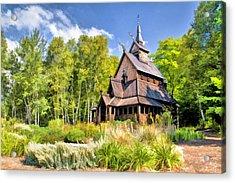 Stavkirke Church On Washington Island Door County  Acrylic Print by Christopher Arndt