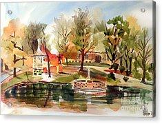 Ste. Marie Du Lac With Gazebo And Pond I Acrylic Print by Kip DeVore