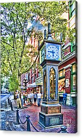 Steam Clock In Vancouver Gastown Acrylic Print by David Smith