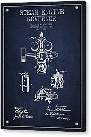 Steam Engine Governor Patent Drawing From 1880- Navy Blue Acrylic Print