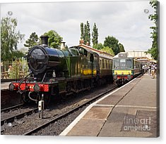 Steam Locomotive At Toddington Acrylic Print by Louise Heusinkveld