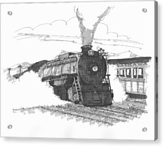 Acrylic Print featuring the drawing Steam Town Scranton Locomotive by Richard Wambach