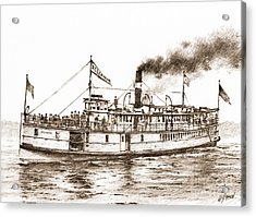 Steamboat Reliance Sepia Acrylic Print