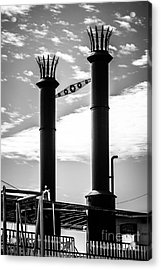 Steamboat Smokestacks Black And White Picture Acrylic Print by Paul Velgos