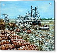 Steamboat Unloading Cotton In Memphis Acrylic Print by Karl Wagner