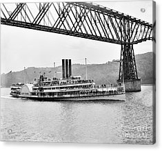 Steamer Albany Under Poughkeepsie Trestle Black And White Acrylic Print