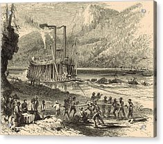 Steamer On The Tennessee Warped Through The Suck - 1872 Engraving Acrylic Print by Antique Engravings
