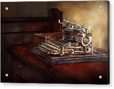 Steampunk - A Crusty Old Typewriter Acrylic Print by Mike Savad