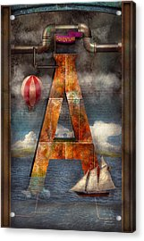 Steampunk - Alphabet - A Is For Adventure Acrylic Print by Mike Savad
