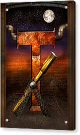 Steampunk - Alphabet - T Is For Telescope Acrylic Print by Mike Savad