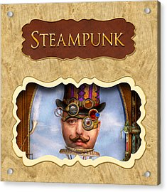 Steampunk Button Acrylic Print by Mike Savad