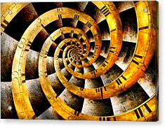 Steampunk - Clock - The Flow Of Time Acrylic Print by Mike Savad
