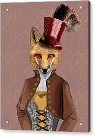 Steampunk Fox Vivienne Fox Acrylic Print by Kelly McLaughlan