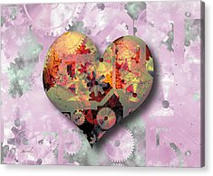 Steampunk Heart Acrylic Print by The Art of Marsha Charlebois