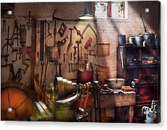 Steampunk - Machinist - The Inventors Workshop  Acrylic Print by Mike Savad