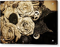Steampunk Paper Roses Will Never Fade Acrylic Print by Lisa Knechtel