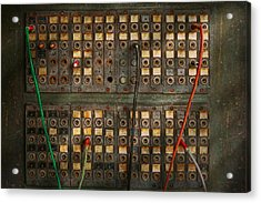 Steampunk - Phones - The Old Switch Board Acrylic Print by Mike Savad
