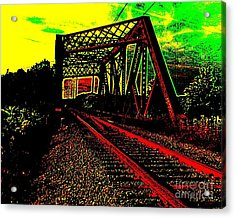 Steampunk Railroad Truss Bridge Acrylic Print by Peter Gumaer Ogden