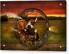 Steampunk - The Gentleman's Monowheel Acrylic Print by Mike Savad
