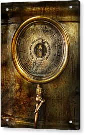 Steampunk - The Pressure Gauge Acrylic Print by Mike Savad