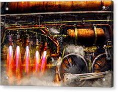 Steampunk - Train - The Super Express  Acrylic Print by Mike Savad