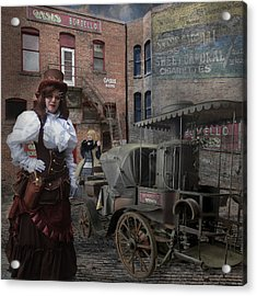 Steampunk Welcome To The Oasis In Wallace Idaho Acrylic Print by Jeff Burgess