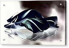 Steel Black And Blue Petals Acrylic Print